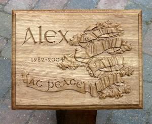 Hand Carved Oak Memorial