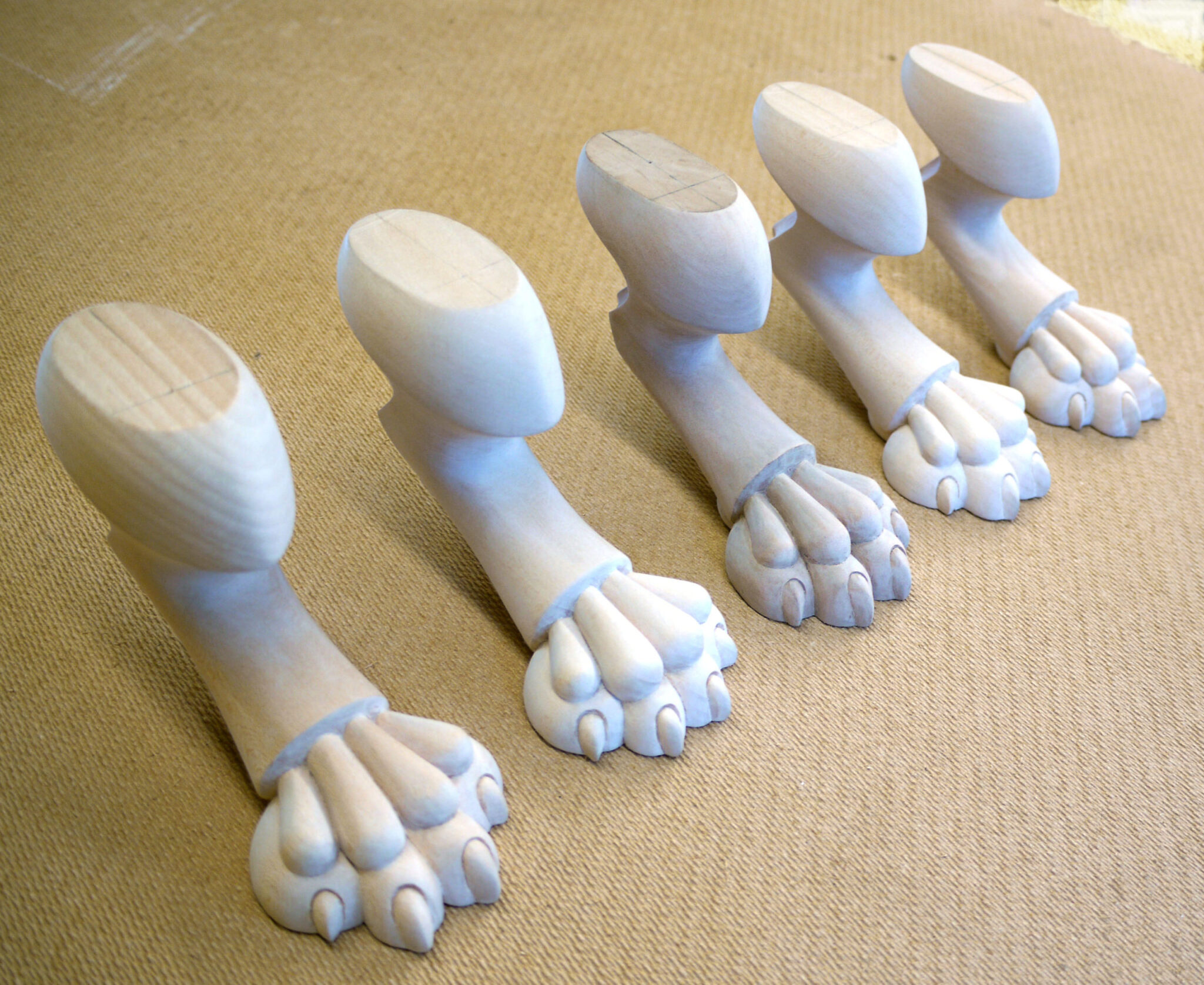 Hand Carved Claw Feet In Lime