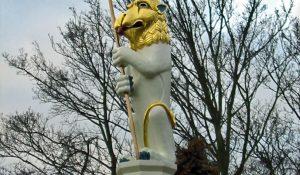 Carved Heraldic Lion