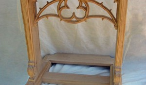 Bespoke Church Prie Due with Hand Carved Pierced Tracery Oak Panel