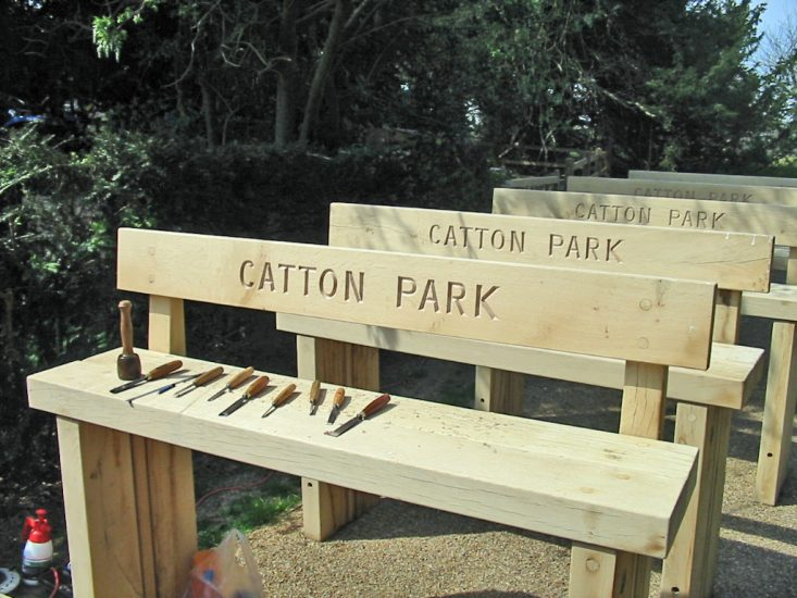 Park Benches with Hand Carved Lettering