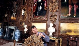 Mark Bridges carrying out restoration wood carving at Petworth House