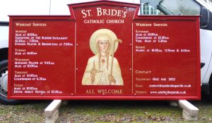 Bespoke Exterior Church Sign Hand Painted with Gilded Lettering and Imagery