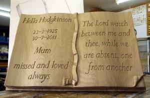 Memorial Carving of Book