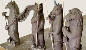 Clay Maquettes of Heraldic Beasts