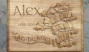 Hand Carved Oak Memorial