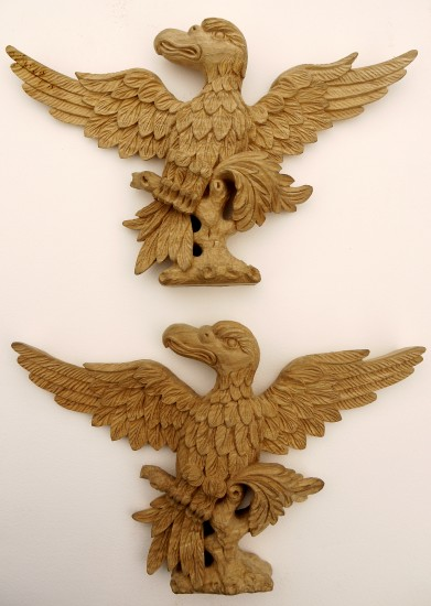 Pair of Eagles Hand Carved in Lime