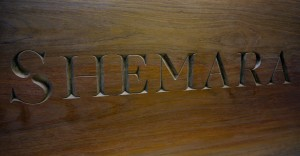 Bespoke Incised Lettering to Teak Top