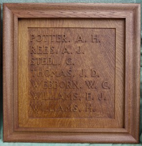 Relief Carved Names to Memorial Board