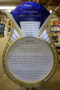 Commemorative Plaque in the shape of a Sapphire Ring